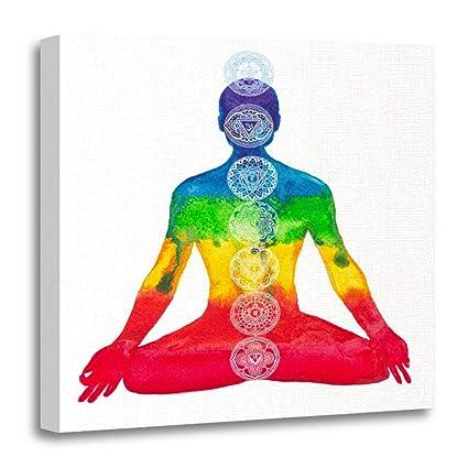 Amazon.com: Emvency Canvas Prints Square 16x16 Inches Yoga ...