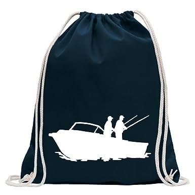 819b3451f5180 KIWISTAR - Fischerboot - Angler Turnbeutel Fun Rucksack Sport Beutel  Gymsack Baumwolle mit Ziehgurt