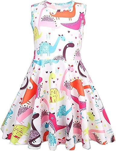 OPAKY Vestido Casual de la Princesa de del Dinosaurio de la Historieta de la Niña Vestido