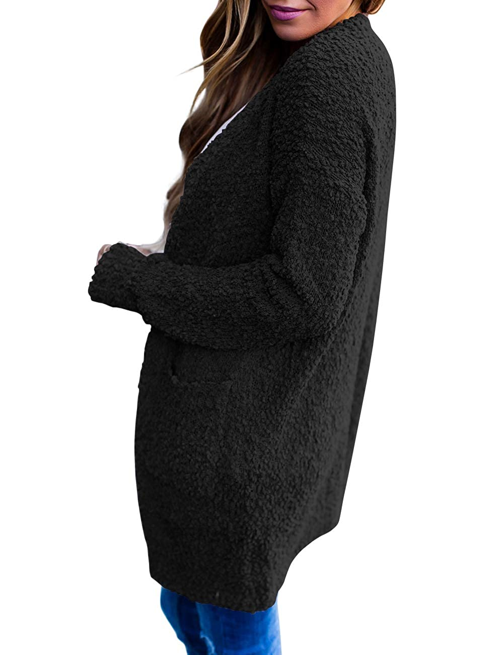 MEROKEETY Womens Long Sleeve Soft Chunky Knit Sweater Open Front Cardigan Outwear with Pockets