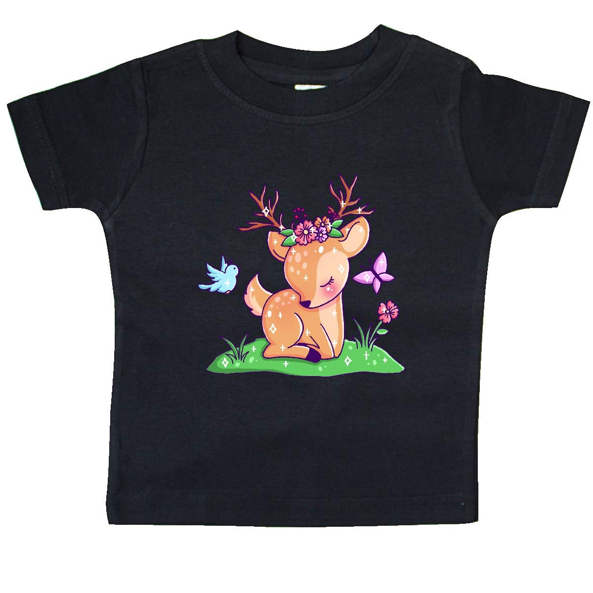Bird and Flowers Baby T-Shirt inktastic Cute Baby Deer with Butterfly