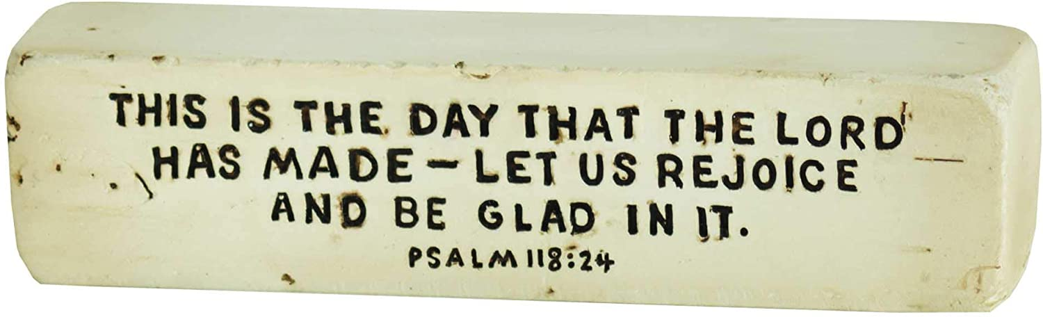 This is The Day He Has Made Distressed White 4 x 1 Resin Decorative Tabletop Block Sign