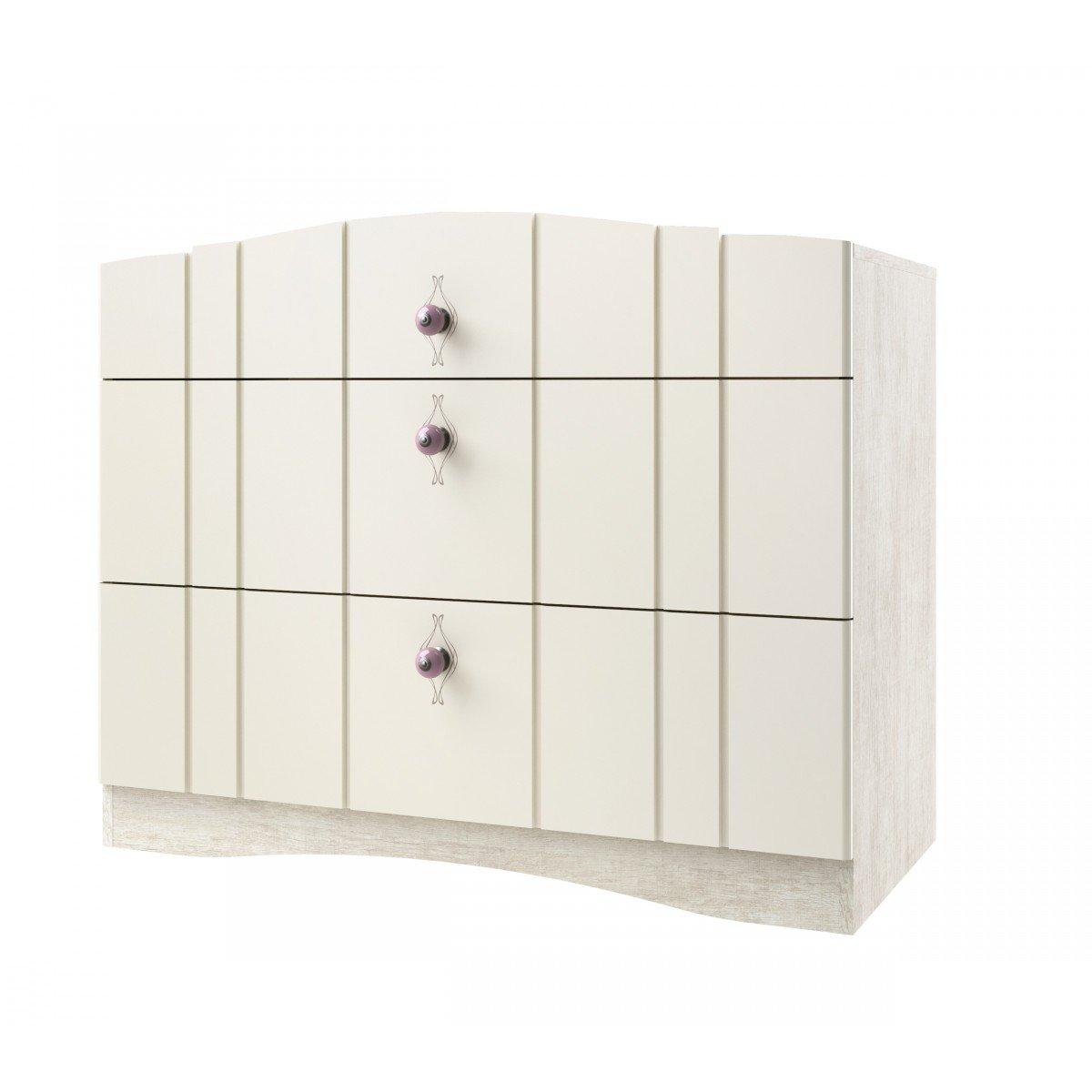 Commode 3 tiroirs imitation chêne ivoire CO4004 - Terre de Nuit