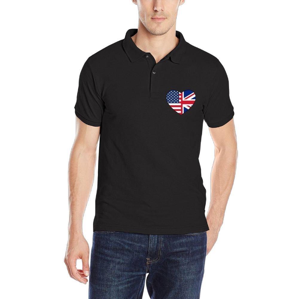 Us UK Flags Heart-1 Mens Short Sleeve Polo Shirt Regular Blouse Sportswear