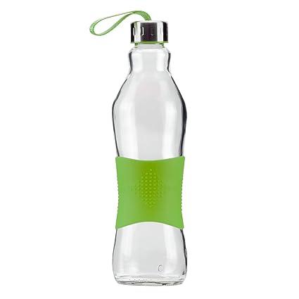 Grip & Go Botella de vidrio para beber/para nevera sin BPA de 1.0L