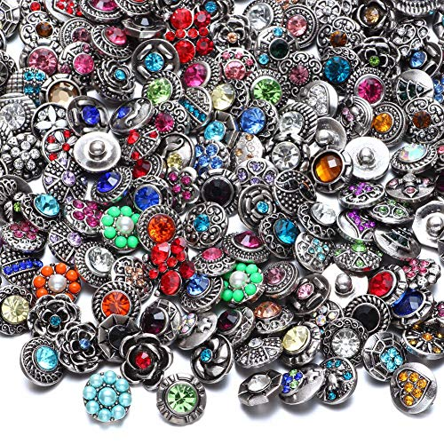 RoyalBeier Mixed Lot Multi Color Rhinestone Metal Button Charms 12mm Snap Button For Snap Jewelry HM008 (30pcs) ()