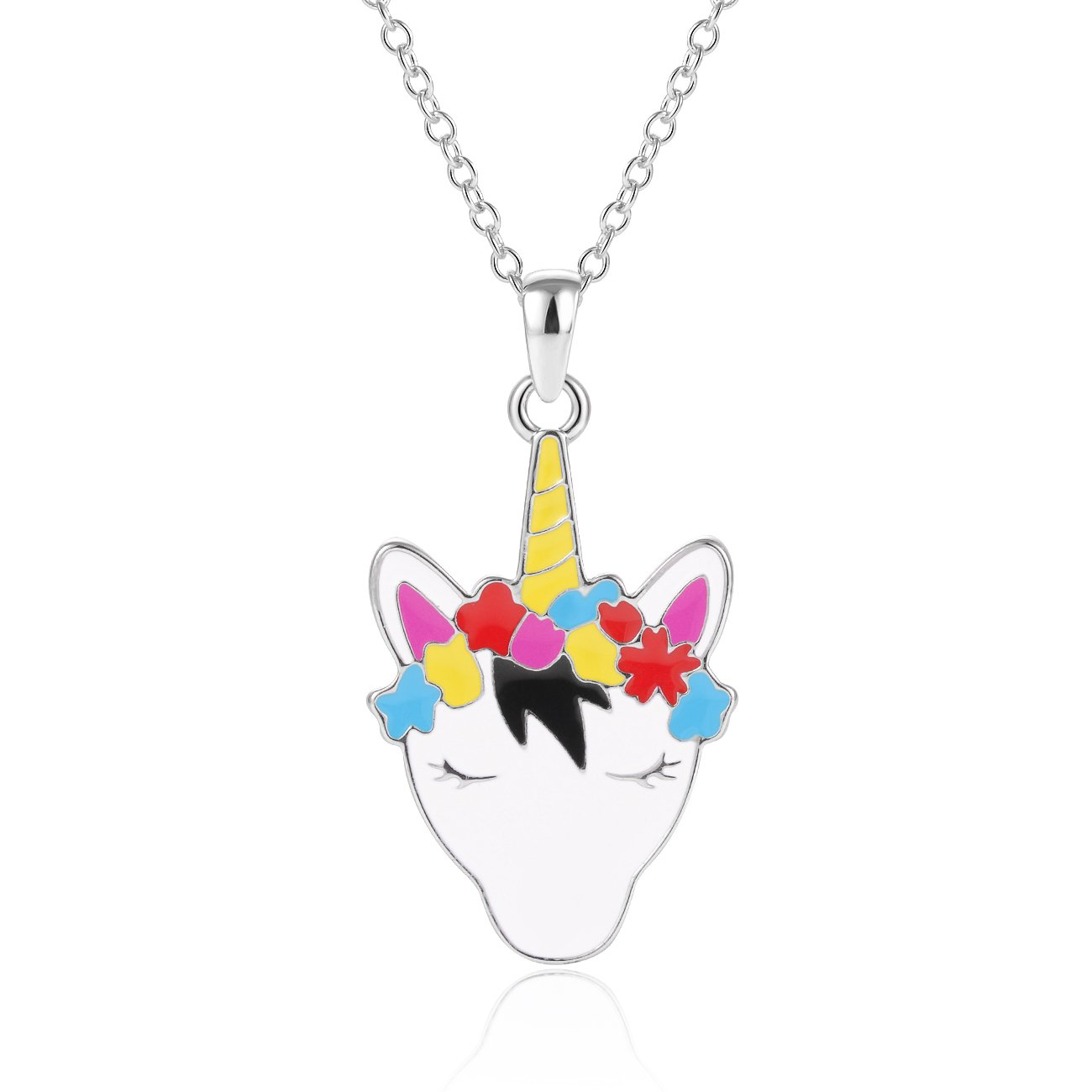 KINGSIN Sliver Unicorn Necklace for Girls Women Colors Enamel Unicorn Pendant Jewelry Birthday Gifts for Kids