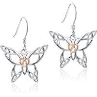 MANBU 925 Sterling Silver Unique Celtic Butterfly Heart Pendant Necklace or Earrings Rings Jewelry Gifts for Women