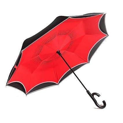 Paraguas HUXIUPING Invertir manija Larga Doble automático Manos Libres Puede soportar Mujeres sombrillas (Color :
