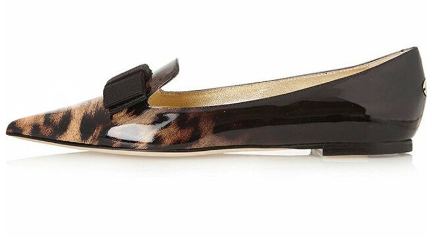 Eldof Women's Flats, Pointed Toe Flats Pumps, Patent Dress Leather Flats Pumps, Walking Dress Patent Office Classic Comfortable Flats B07DL29HC9 12.5 B(M) US|Leopard-black 8a417e
