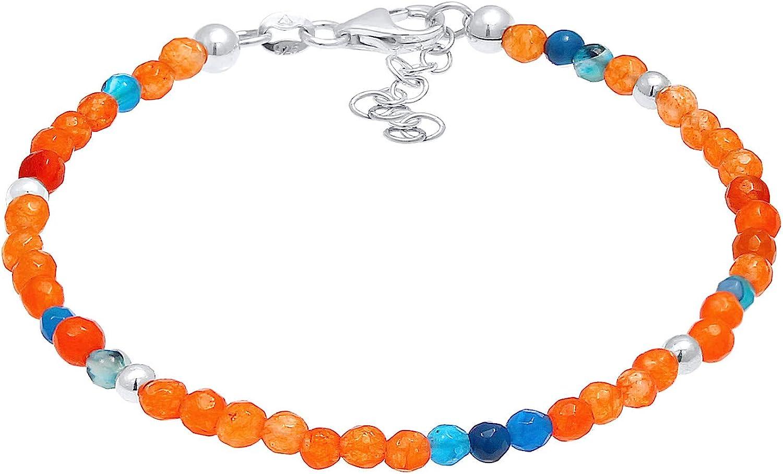 Pulsera de mujer de perlas de ágata multicolor (3 mm) y bolas de plata de ley 925 auténticas, pulsera de piedras preciosas hechas a mano en aspecto veraniego para mujer, longitud 16-19 cm, 0208981420
