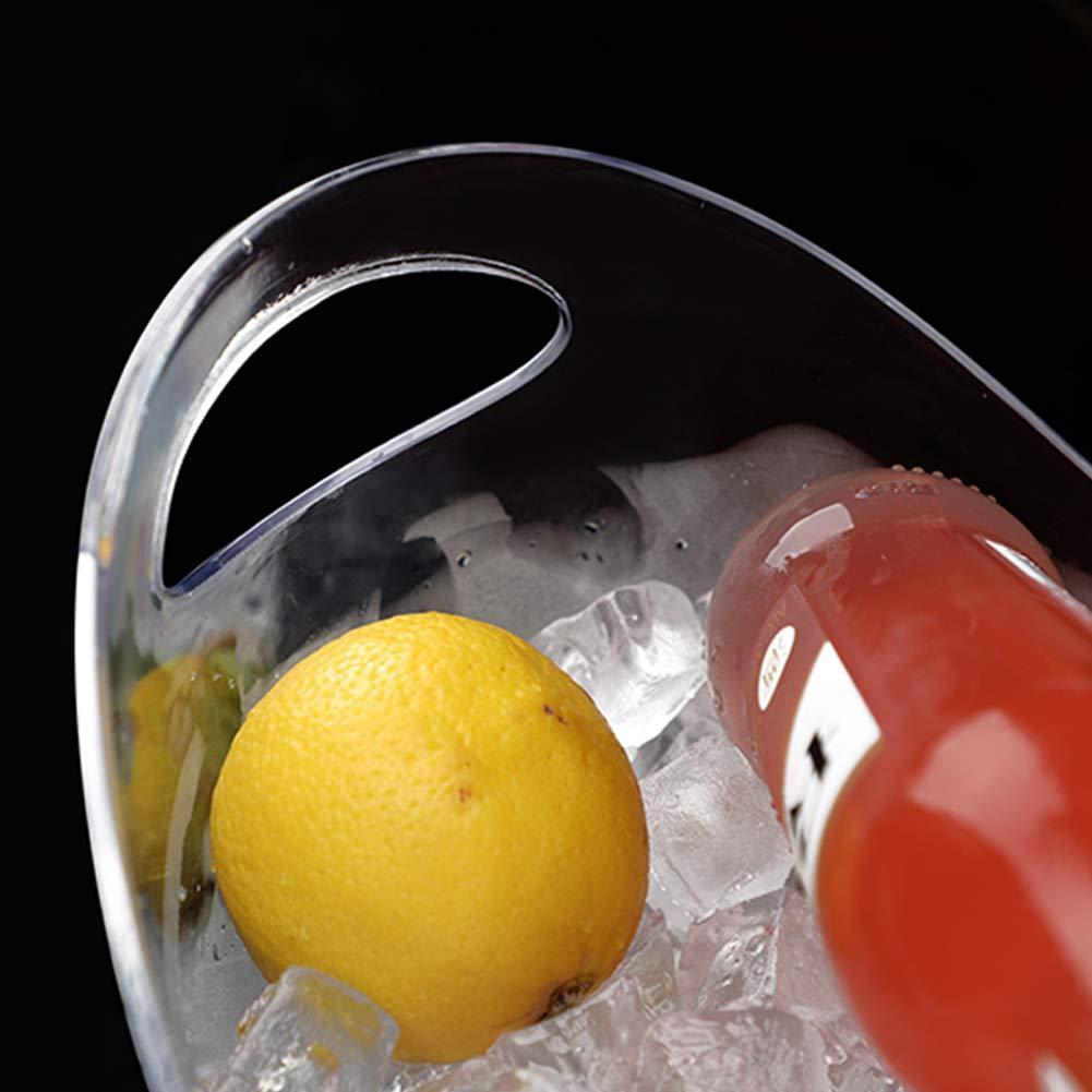 L Recipiente de Hielo Transparente Multifuncional Gran Capacidad Cocina Acr/ílico Champ/án Wine Bar Accesorios port/átiles Cubo de Aislamiento en fr/ío No t/óxico con asa