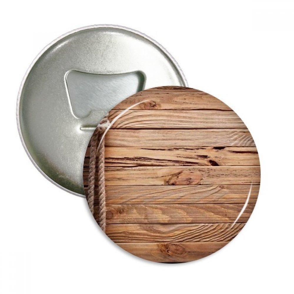 Wood Irregular Rope Stripes Pattern Round Bottle Opener Refrigerator Magnet Pins Badge Button Gift 3pcs