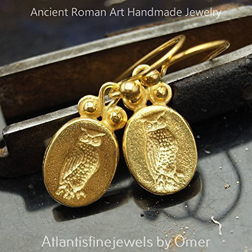 Owl Coin Earrings 925k Silver Ancient Roman Art Turkish Jewelry 24k Gold Vermeil Ancient Coin Earrings