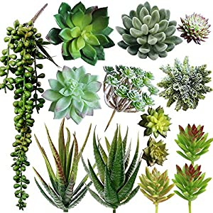 Supla Pack of 14 Assorted Artificial Succulents Picks Textured Aloe Faux Succulent Pick Succulent Stems Fake succulent bouquet String of Pearls Succulent Faux Succulent Floral Arrangement Accent 18