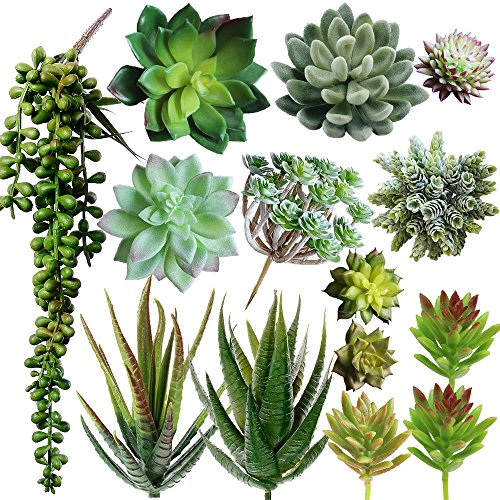 Supla Pack of 14 Assorted Artificial Succulents Picks Textured Aloe Faux Succulent Pick Succulent Stems Fake Succulent Bouquet String of Pearls Succulent Faux Succulent Floral Arrangement Accent (Succulent Faux)