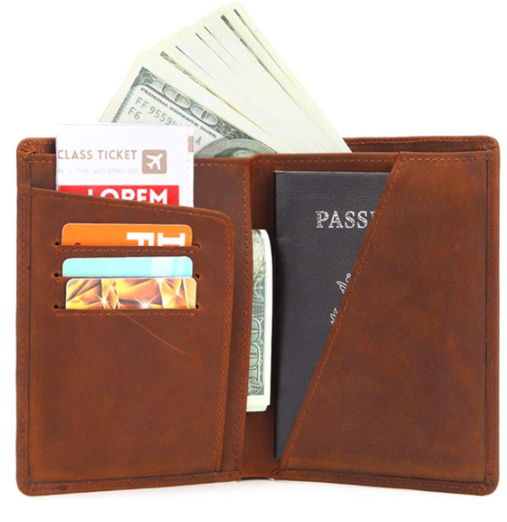 Black Genuine Crazy Horse Leather RFID Blocking Passport Holder Travel Wallet