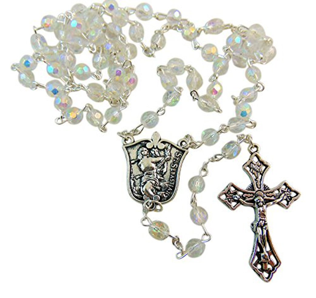 St Sebastian Ladies Glass Bead Rosary Girl Athletes Saint Boxed, 19 1/2 Inches Long