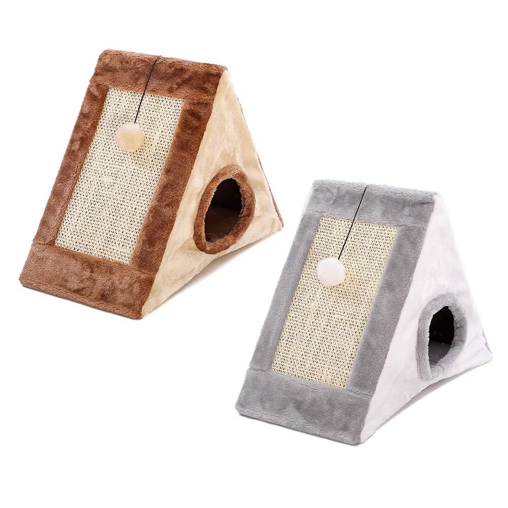 laamei Rascador para Gatos, 2 en 1 Casa de Gatos con Alfombrilla Rascador con Bola en Forma de Triángulo Cama Plegable y Portátil Casa Juguete Interactivo ...