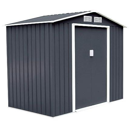 COSTWAY de Metal para jardín (de casita para Herramienta almacenaje con Puerta corredera 277 x 191 x 192 cm) Gris: Amazon.es: Jardín