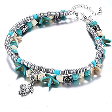 Amazon.com: Pulsera de tobillo de doble tortuga con ...