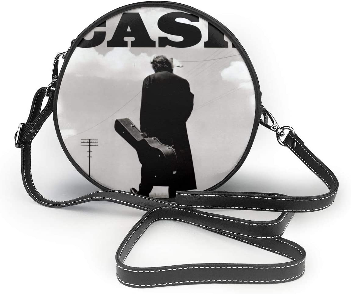 Huaichuanhua The Legend of Johnny Cash Leather Shoulder Round Bag