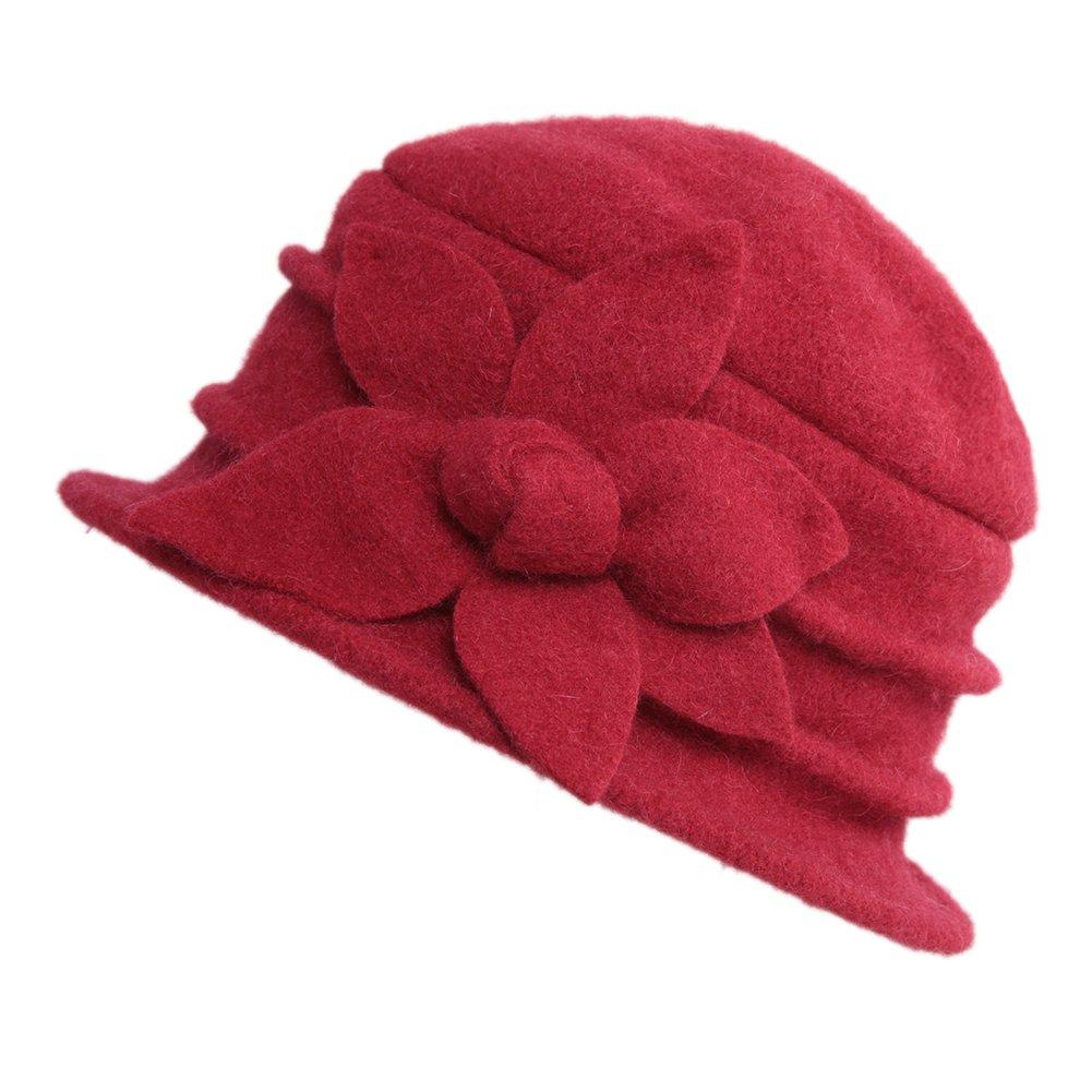 CHIC-CHIC Ladies Vintage Elegant Wool Cloche Bucket Hat Winter Warm Flower Brim Cap