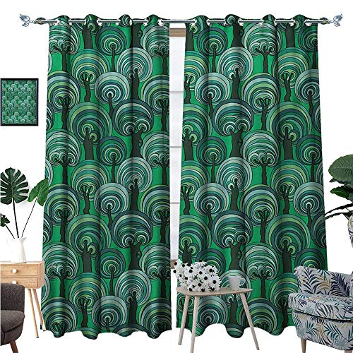 BlountDecor Tree Window Curtain Drape Colorful Deep Forest Pattern with Abstract Circular Foliage Design Bullseye Pattern Decorative Curtains for Living Room W108 x L84 Multicolor (Light Bullseye Plum)