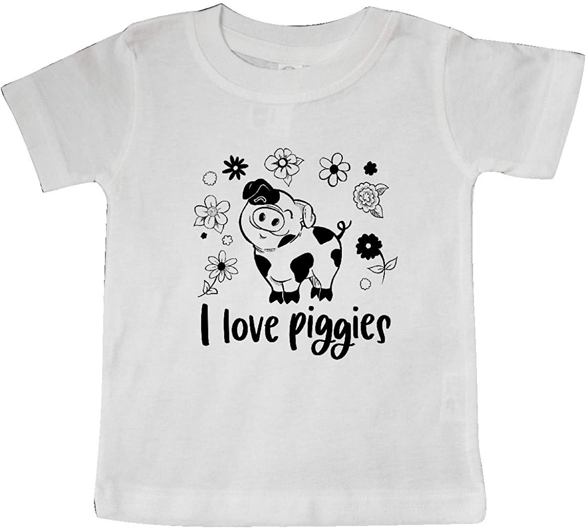 inktastic I Love Piggies Cute Pig and Flowers Baby T-Shirt