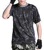 (ガンフリーク) GUN FREAK 迷彩柄 半袖 Tシャツ タクティカル ストレッチ メッシュ サバゲー ( タイフォン ブラック , 3XL )