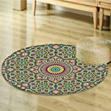 Nalahomeqq Moroccan Decor Collection Aged Old Arabic Design Arabian Cultural Engraving Art History Tourist Attraction Image Polyester Fabric Room Circle carpet Extra Yellow Blue-Diameter 90cm(36'')