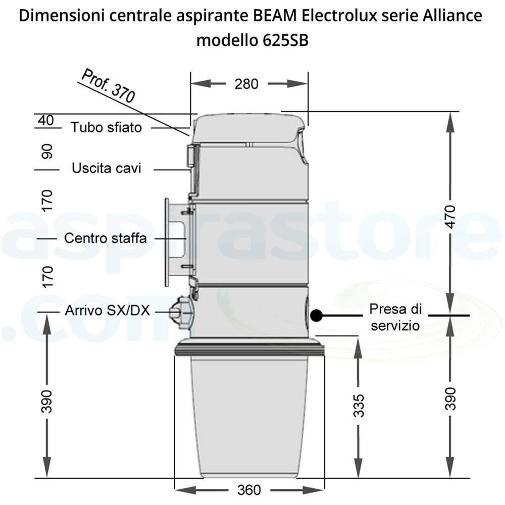 Pacchetto completo aspirapolvere centralizzato BEAM Alliance 625SB e kit accessori pulizia
