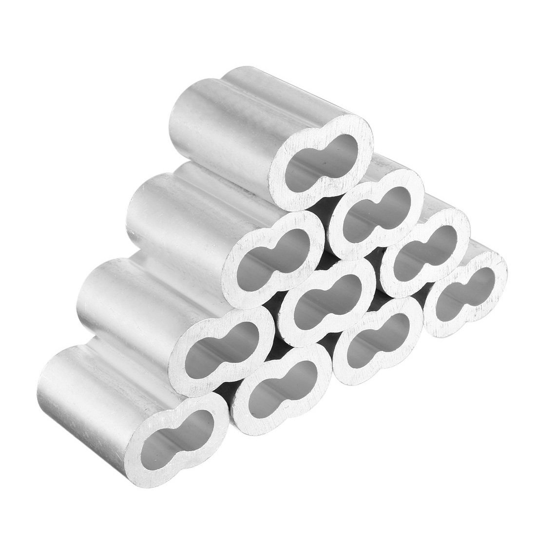 SODIAL 10pcs 1/2 inch (12mm) Diameter Wire Rope Aluminum Sleeves Clip Fittings Cable Crimps New