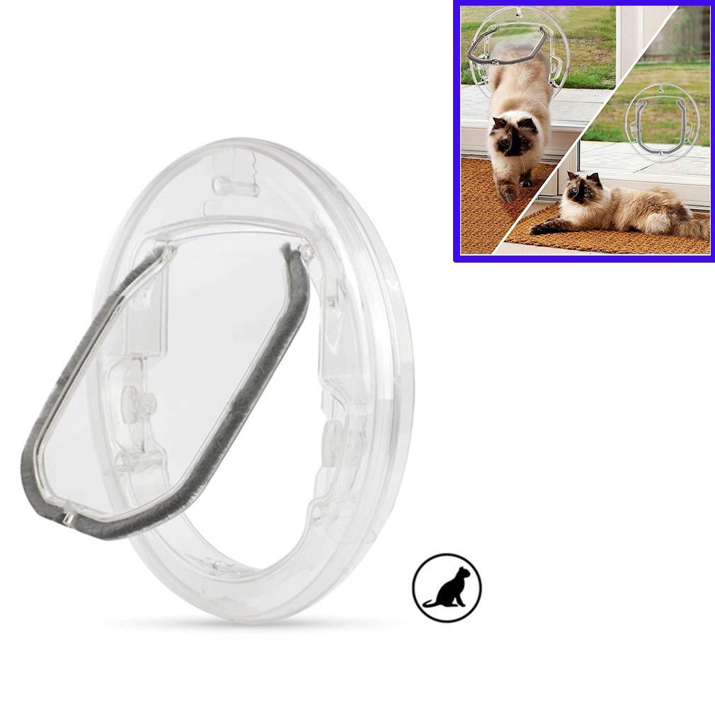 Cat Flap Pet Door, Small Dogs Cat Door Lock with 4 Possibilities, Round Clear Cat Flap with Door Liner, Kit Best