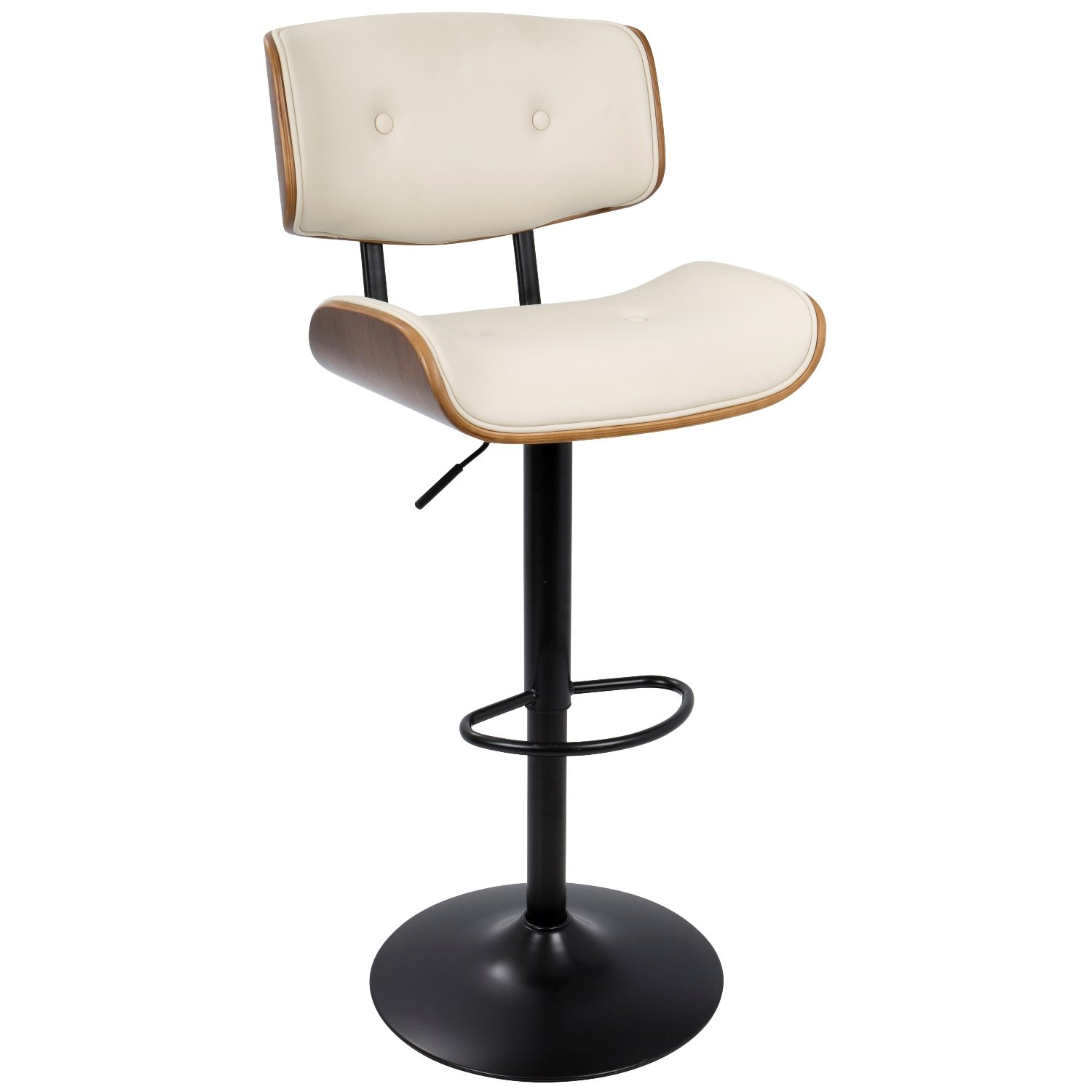 WOYBR BS-JY-LMB WL+CR Wood, Pu Leather, Metal Lombardi Barstool by WOYBR