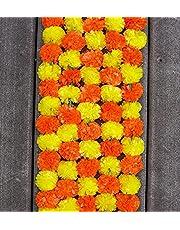 Boho Sanskriti Artificial Marigold Flower 4.5 FEET Long for Parties Weddings Indian Theme Decorations Event sangeet Home Decoration Diwali Indian Festival Christmas Garland Strings Mehndi