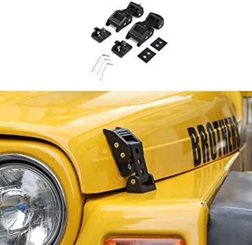 2pcs Set Black Hood Latch Catch /& Bracket for 1997-2006 Jeep Wrangler TJ