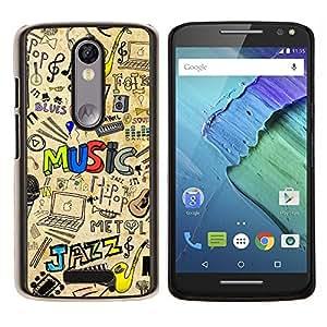 "Be-Star Único Patrón Plástico Duro Fundas Cover Cubre Hard Case Cover Para Motorola Droid Turbo 2 / Moto X Force ( Patrón Jazz Música"" )"