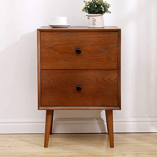 2 Drawers Nightstand, DEPOINTER Wood Bedside Storage Cabinet, Accent End Side Table Chest, Mid Century Modern Design Perfect for Home Furniture, Bedroom Accessories, Brown