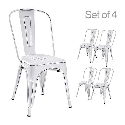Amazon Com Devoko Metal Indoor Outdoor Chairs Distressed Style