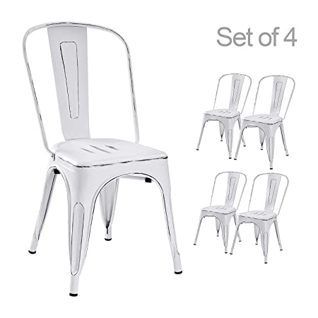 Devoko Metal Indoor-Outdoor Chairs Distressed Style Kitchen Dining Chairs Stackable Side Chairs with Back Set of 4 White