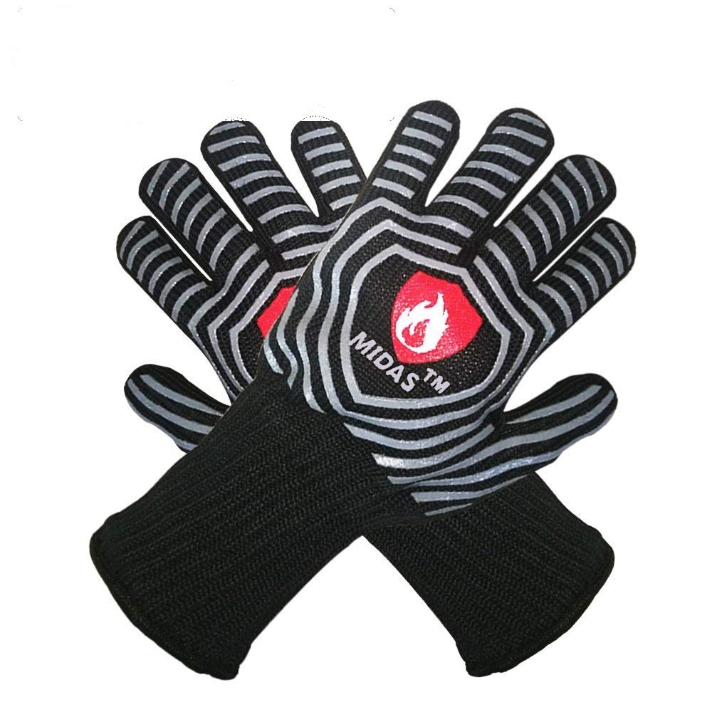 Midas BBQ Grilling Heat Resistant Gloves Extreme Heat Resistant Oven Mitts,EN407 Protect up to 932°F-Cooking Oven (1 Pair) (M)