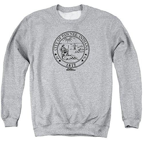Parks And Rec Pawnee Seal Mens Crewneck Sweatshirt Athletic Heather Sm - Design Kids Crewneck Sweatshirt