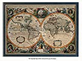 Framed - Vintage Style World Map - 17th Century Orbis Geographica - Push Pin Memo Notice Board - Black Driftwood Effect - Matt Finish - Measures 96.5 x 66 cms ( 38 x 26 Inches - Approx )