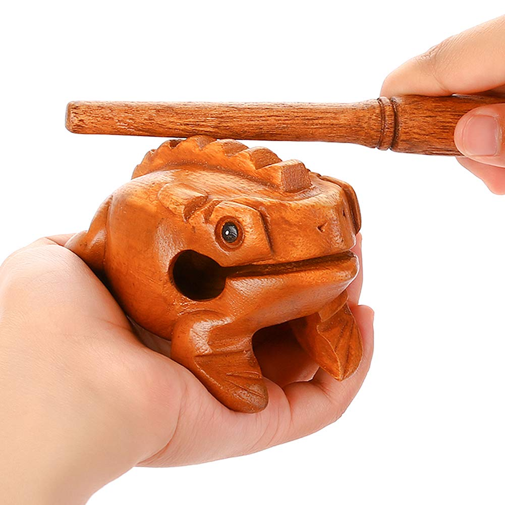 DomeStar 3.5 Wood Frog Guiro Rasp with Whistle, Croaking Sound Toy, Musical Instrument Tone Block, Burlywood Rainbow Town 10779076
