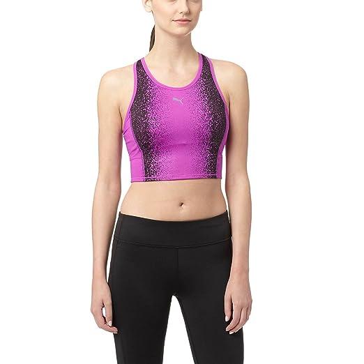 Puma Womens All Eyes On Me Cardio Crop Top Underwear Medium Purple Cactus  Flower/Black