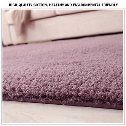 Teppich Hochflor Langflor Shaggy für Wohnzimmer Modern Schlafzimmer  Kinderzimmer Teppiche Lila (120x 80cm)