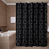 Black and White Shower Curtain Yuunity Printed Shower Curtain Polyester Fabric Waterproof Mildew Resistant Non-Toxic, 72x72-Solid Black with White Circle