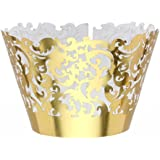 Lace Cupcake Wrappers ROSENICE Gold Cupcake Liners Muffin Cases Pack of 50