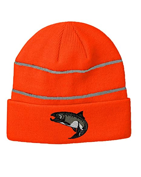 Amazon Salmon Embroidery Design Acrylic Beanie Reflective